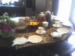 set up for tea at Kitchen counter