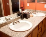 double sinks and upgraded countertop